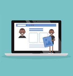 Edit your profile conceptual young black vector