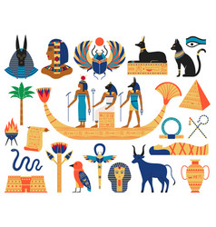 egyptian elements ancient gods pyramids and vector image