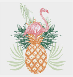flamingo on pineapple tropical print vector image