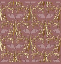 Floral 3d damask seamless pattern vintage pink vector