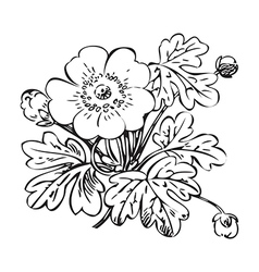Floral bush retro black on white hand drawn vector
