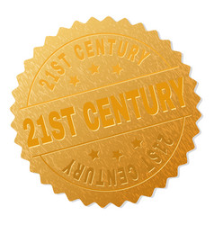 Golden 21st century medal stamp vector