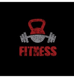 grunge kettlebell and barbell on black background vector image