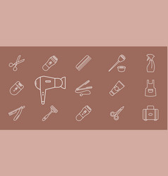 hairdressing salon icons - set outline for vector image