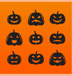 Halloween pumpkins in with set different vector