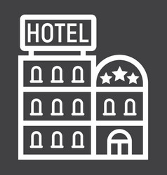 hotel building line icon travel and tourism vector image