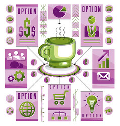 Infographics concept with hot cup of tee or vector