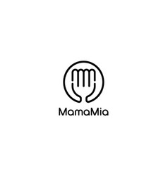 Initial letter m and m with fork food logo design vector