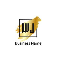 Initial letter wj logo template design vector