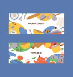 kitchen utensils banner cartoon kitchenware vector image