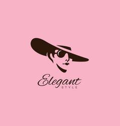 Lady in hat logo vector