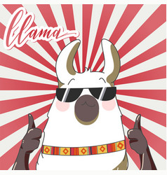 lama in cartoon style vector image