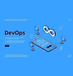 landing page devops development operations vector image