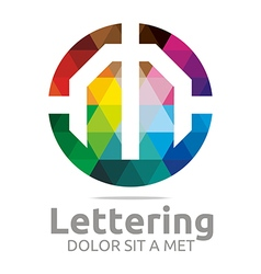 Logo Abstract Lettering M Rainbow Alphabet Icon vector image