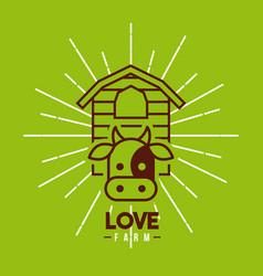 love farm flat vector image