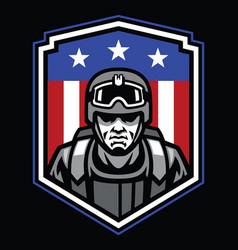 Mascot soldier badge vector