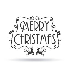 merry christmas card lettering reindeer decoration vector image