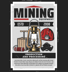 Miner helmet lamp dynamite and mask coal mining vector