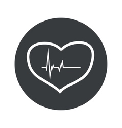 Monochrome round cardiology icon vector image