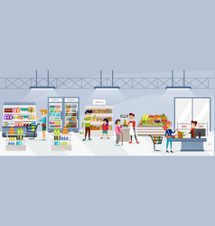 people going shopping in organic market flat set vector image