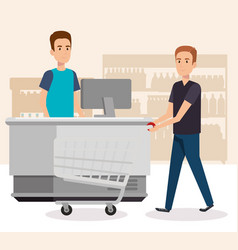 people in supermarket payment point vector image