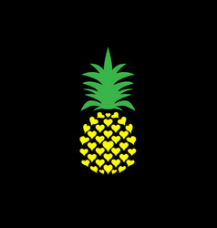 pineapple with leaf logo icon heart shape design vector image