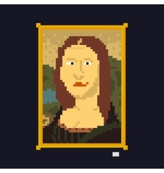 Pixel art style drawing lady masterpiece vector image