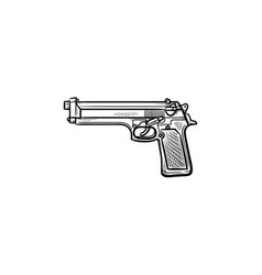 police gun hand drawn outline doodle icon vector image