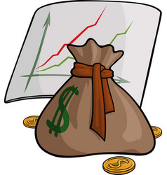 Pouch with money and graph vector