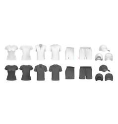 realistic sport uniform mockup male female t vector image