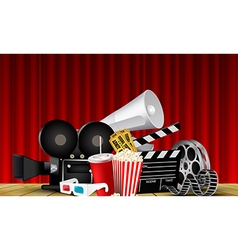 Red curtain cinema films and popcorn on the stage vector image
