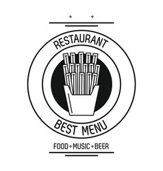 Restaurant food concept in black and white vector