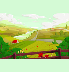 rural landscape with agro field vector image