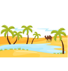 Sandy landscape with blue lake brown camel and vector