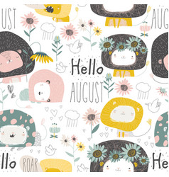 seamless pattern with cute lions and flowers on vector image