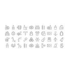 set flat line icons cognac vector image