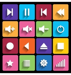 set media player buttons in flat design style vector image