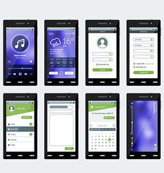 Set of of modern smartphone with apps Flat vector image