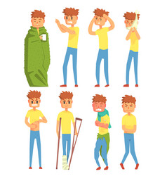 sick young man characters set guy suffering from vector image