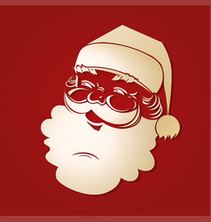 Silhouette of santa claus head of light colored vector