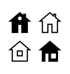 simple black and white house icons vector image