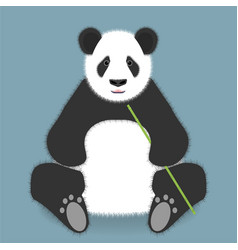 Sitting panda with bamboo stick isolated on color vector