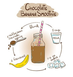 Sketch Chocolate Banana smoothie recipe vector