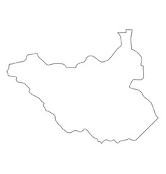 south sudan - solid black outline border map of vector image