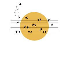 swallows symphony on sun vector image