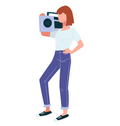 teenage girl carrying retro boombox on shoulder vector image