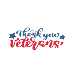 thank you veterans text calligraphy hand vector image