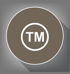 Trade mark sign white icon on brown vector