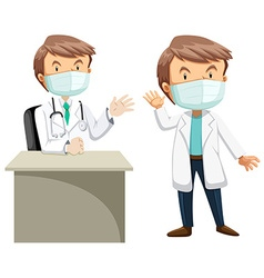 Two doctors in white gown vector image vector image