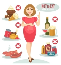 Unhealthy food for pregnant woman vector image